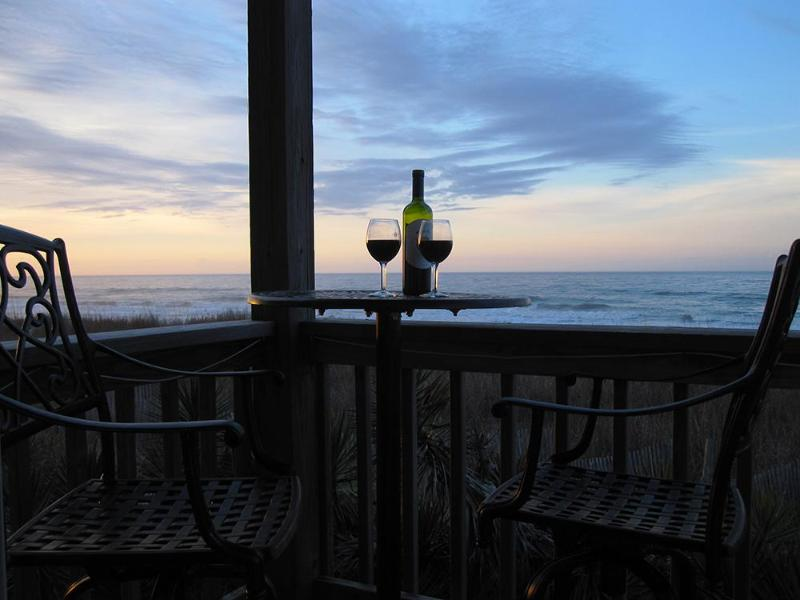 wine and sunset on the deck