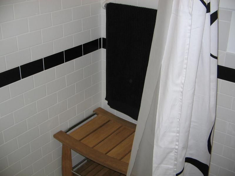 Downstairs bath - teak bench in over-sized shower