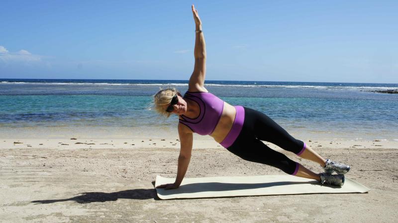 enjoy morning pilates or yoga on the beach