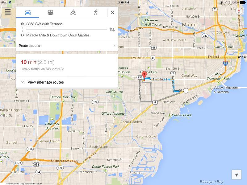 Miracle Mile/Downtown Coral Gables est 10 min avec une circulation dense.