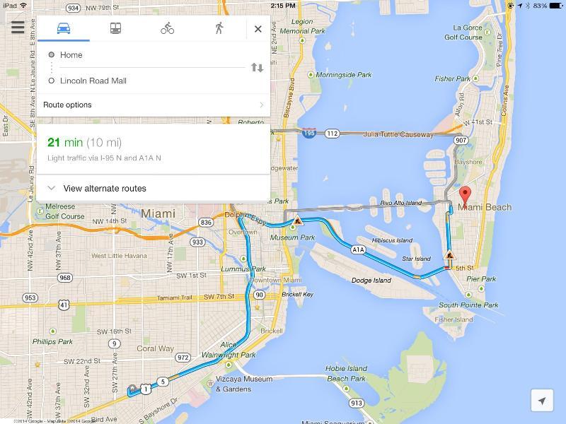 Miami Beach est seulement 20-25 min - à fort trafic.
