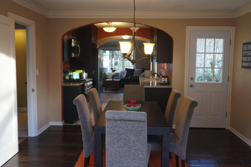 From french doors through kitchen
