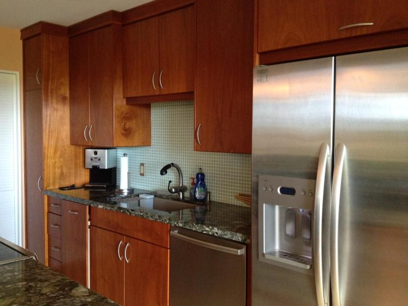 all new stainless steel appliances, mahogany cabinets, glass tile backsplash, granite counter tops.