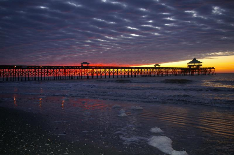 Sunrise at Folly Beach Pier--only 200 steps from the house