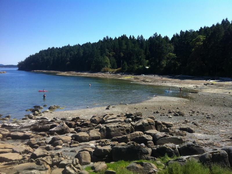 Bay next to pool to launch Kayak or picnic