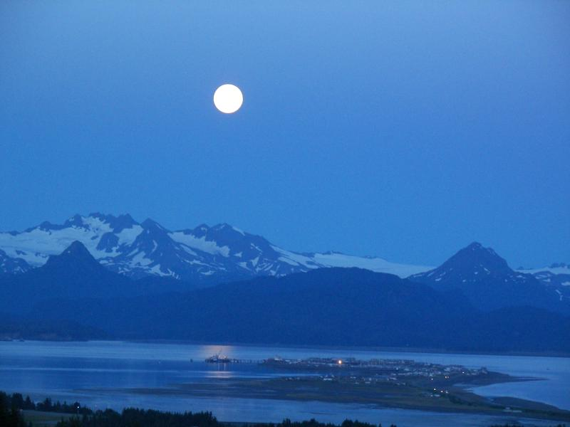 July moon rise over the Homer Spit