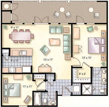 Floorplan EXCEPT our 2nd bedroom sleeps 3 / has full size bed with twin bunk