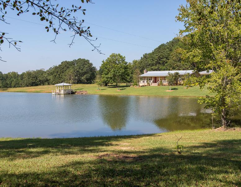 Jackson Drive House from front showing pond, dock and gazebo #2