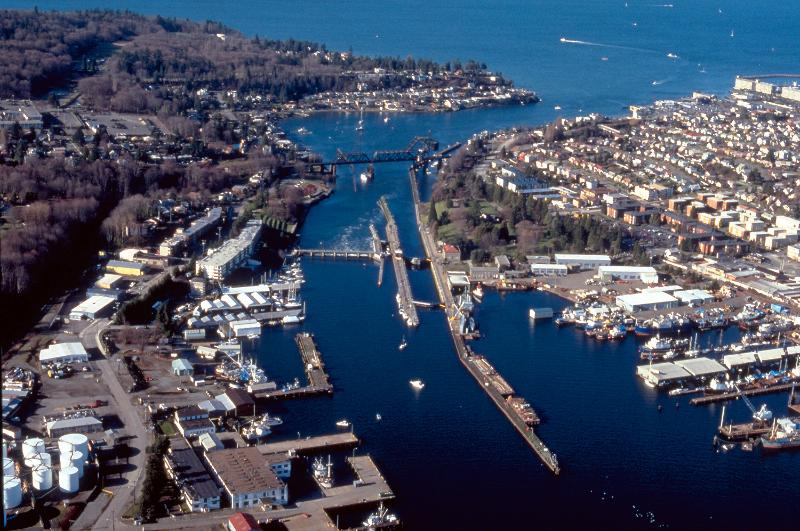 Aerial view of Puget Sound and this location