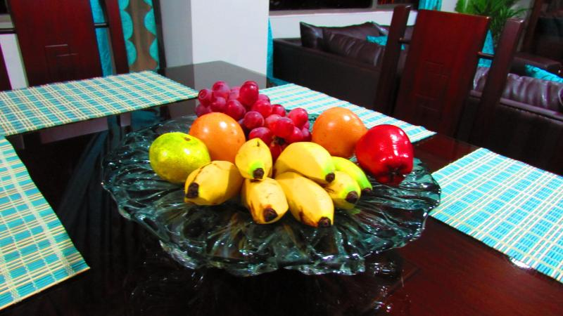 All guests are greeted with fresh fruits of the country.