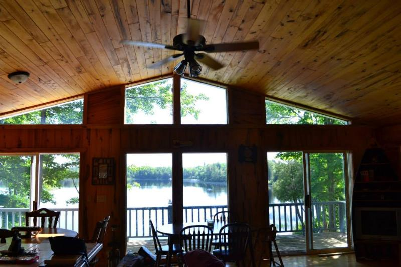 Gorgeous lake views with the wall of windows