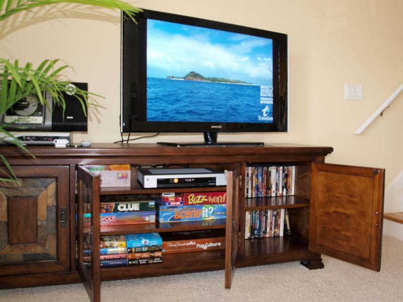 HD TV's, Direct TV, DVD movies, board games, books and more