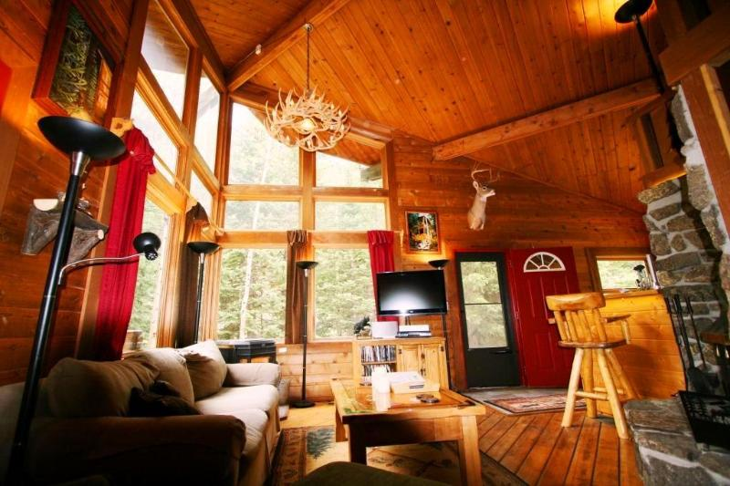 Georgous Great Room!  20-foot vaulted log + Directv w/ HDDVR and high-end music system!
