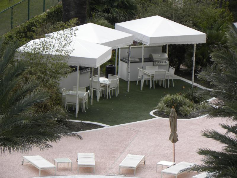 Private Cabanas to reserve for grilling and relaxing by the cascading pools