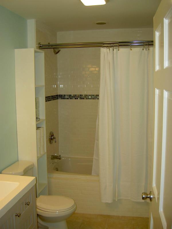 Casa de banho completa no nível principal com banheira de jato e telha cerâmica. Chuveiro sobre a banheira.