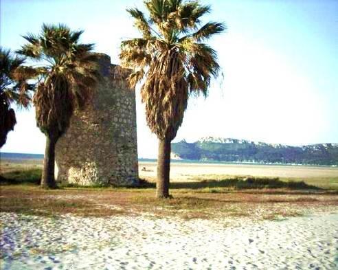 Beach of Cagliari city, the Poetto, on Mediterranean Sea