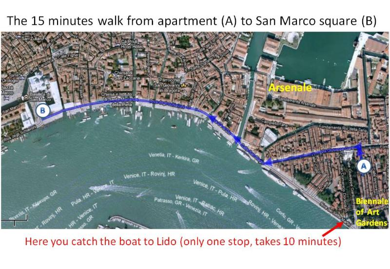 Apartment location and walk to San Marco square