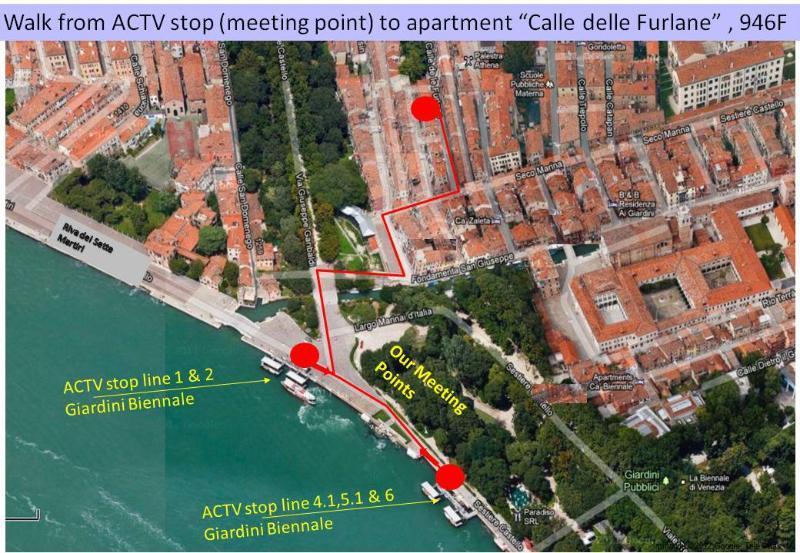 Location relative to Biennale Giardini waterbus stop