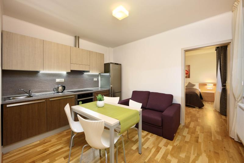 Apartment features one bedroom, kitchen and bathroom