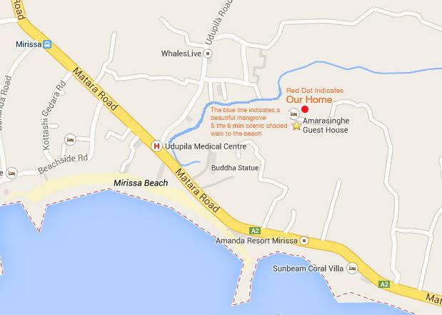 Google Map showing house location & 5 min walk to beach