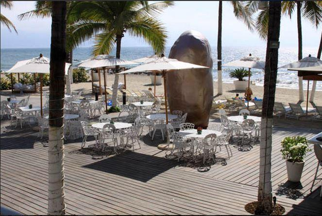 Private beach and beach club restaurant