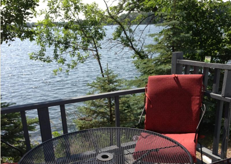 Enjoy the morning sun on the deck that is just a few feet from Lower Elk Lake.