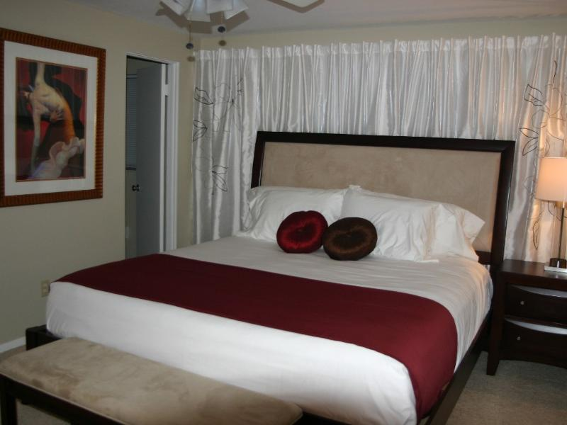 Comfortable king sized bed in the master