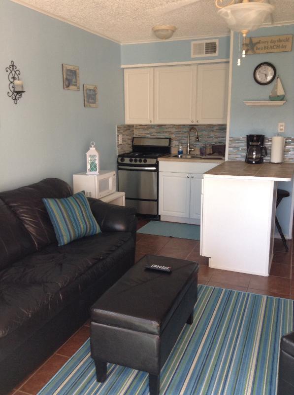 Living room, sofa sleeper w/ ottoman