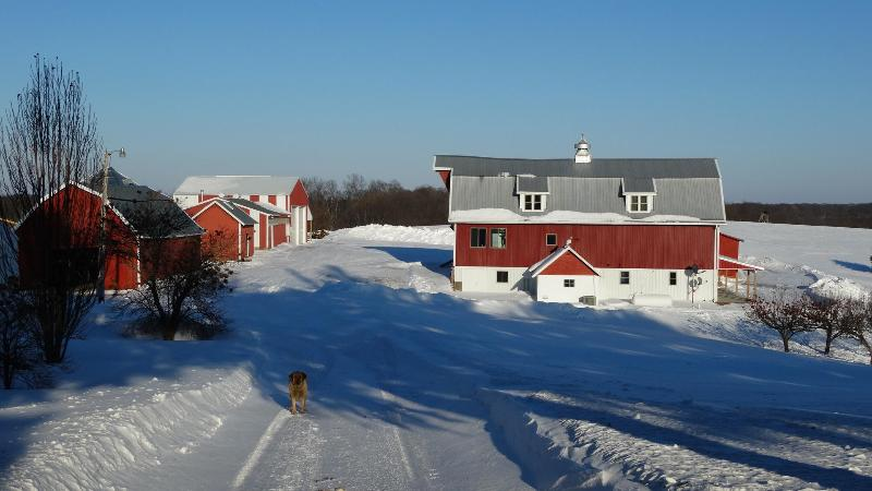 Winter in Wisconsin offers a truely scenic setting to this rustic and wonderful farm setting