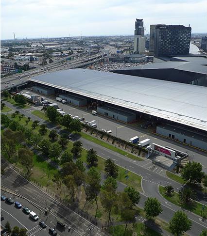 Viste del Convention Center di fronte il nostro edificio, con Port Philip Bay in background