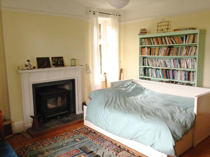 The room with lots of books and art to enjoy