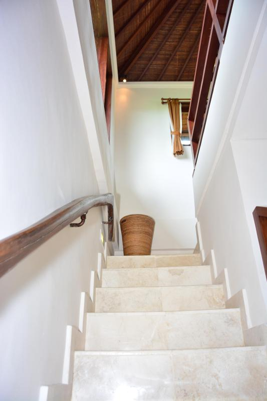 Stairs with antique oxen yoke railings