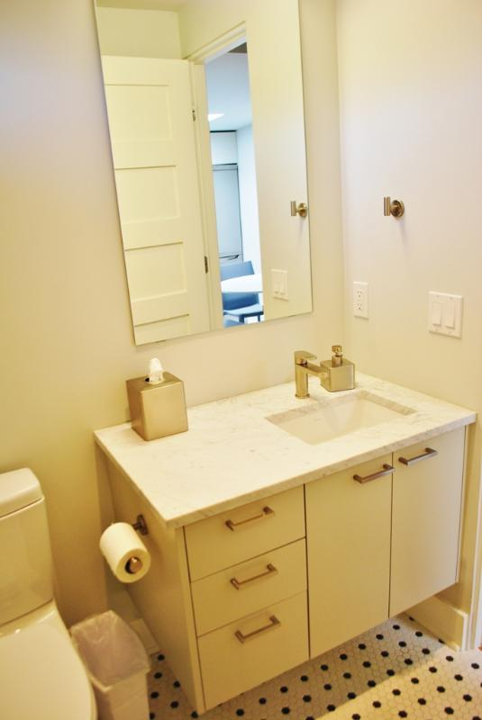 Lovely bath vanity with marble counter