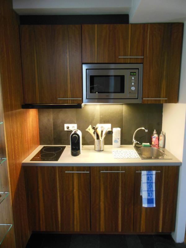 Cuisine équipée : four à micro-ondes, plaque à induction, lave-vaisselle, machine à expresso...