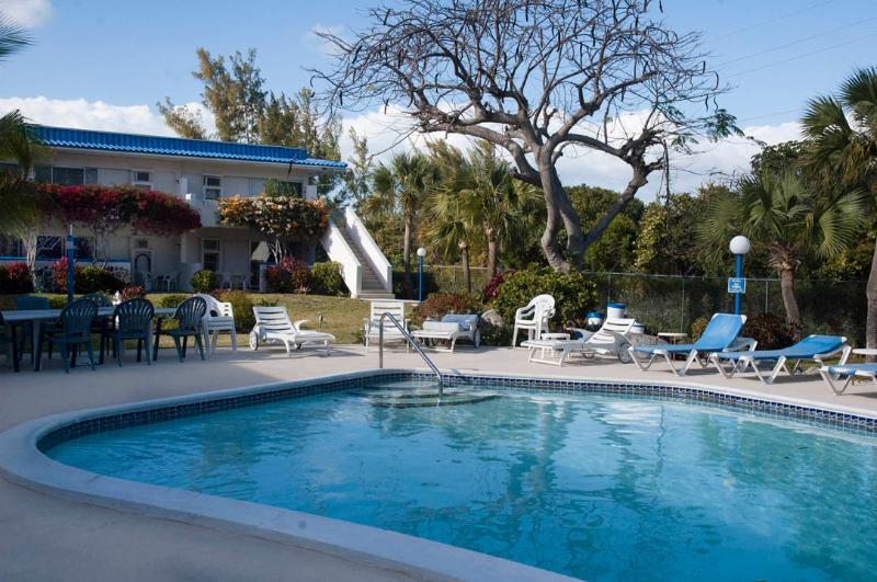 La piscine est bien équipée avec transats et sièges