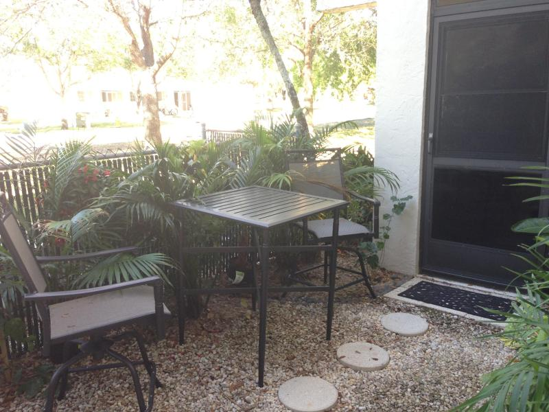 outdoor garden with table