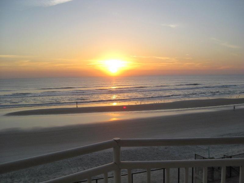 Sunrise from Master Bedroom, LR & Balcony