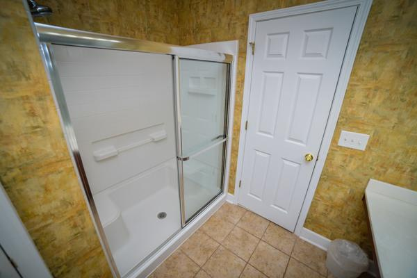 Stand-up shower in master bathroom