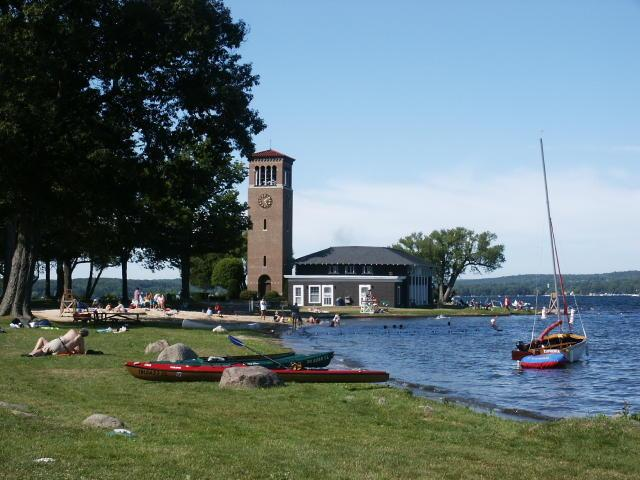 Chautauqua bell tower & family swim area near by