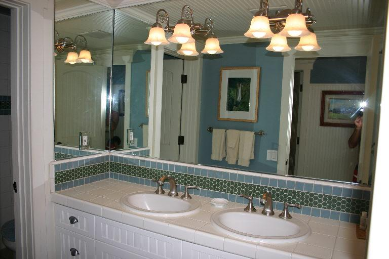 Double sink vanity - (Not pictured - full size walk in shower)