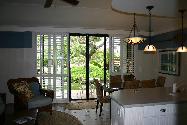 Kiahuna Plantation Beach House #52 - the view towards lanai (outside patio)