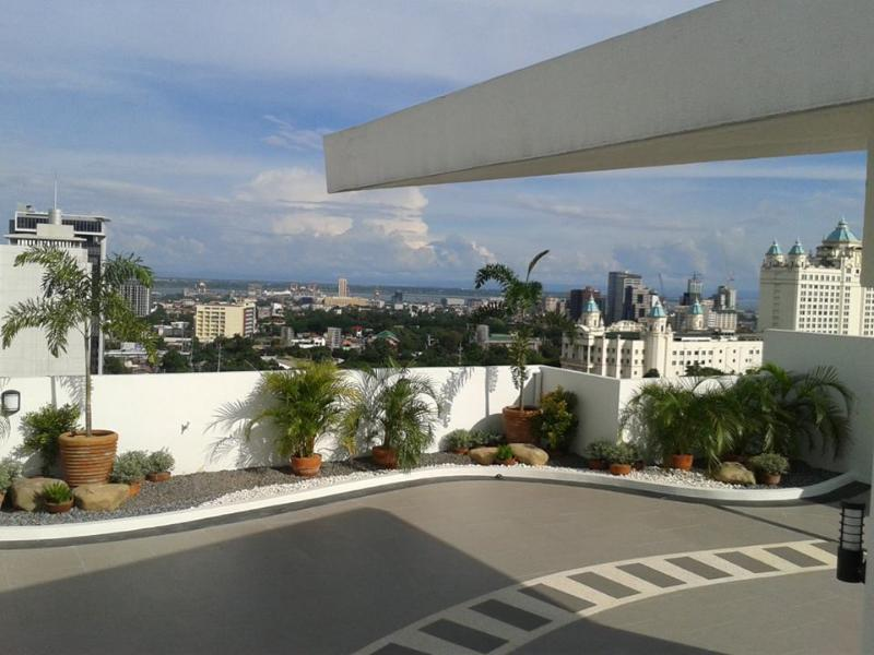 Roof deck with view of Waterfront Hotel