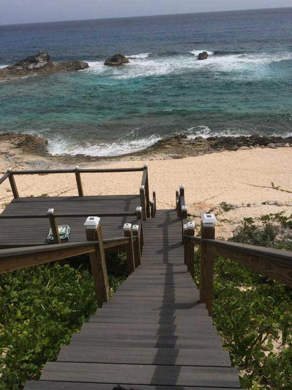 stair with view deck to beach and lagoon