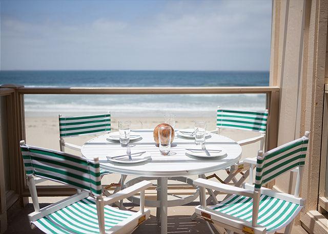 Enjoy al fresco dining on the oceanfront deck.