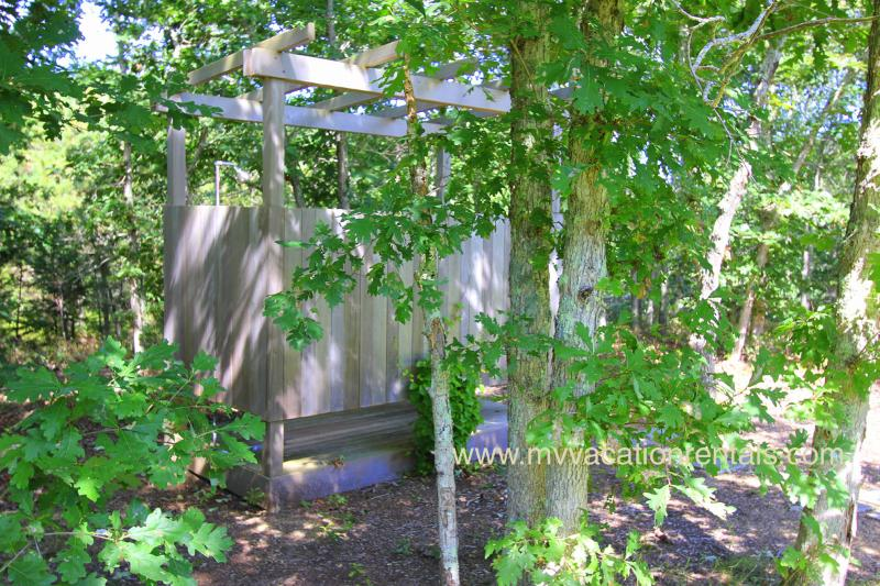 Charming Enclosed Outside Shower with Hot/Cold Water