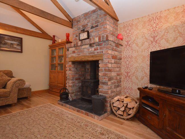 Cosy lounge with wood burner