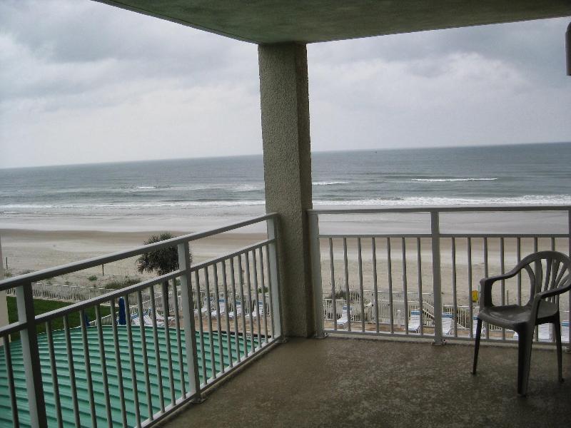 Balcony overlooking ocean and river