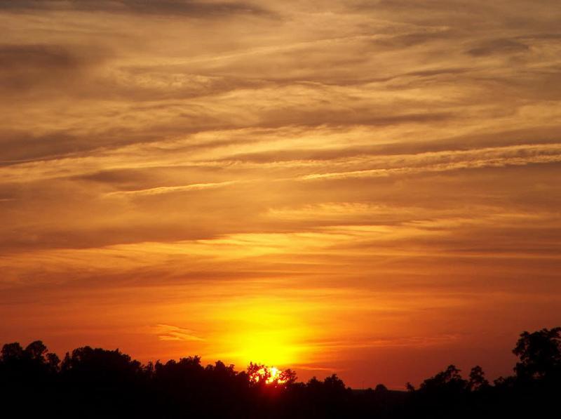 Puesta de sol amarillo brillante