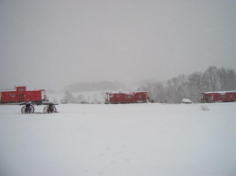 Furgones de cola en la nieve