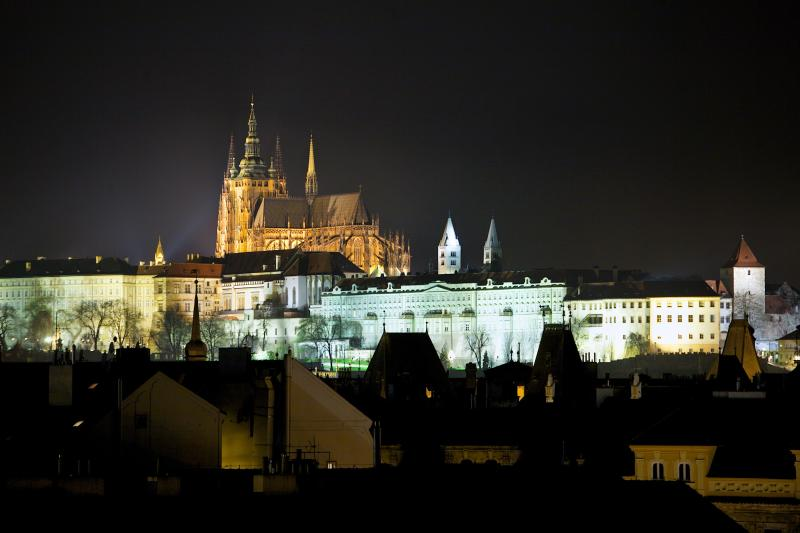 Prague Castle at night - view from the apartment building
